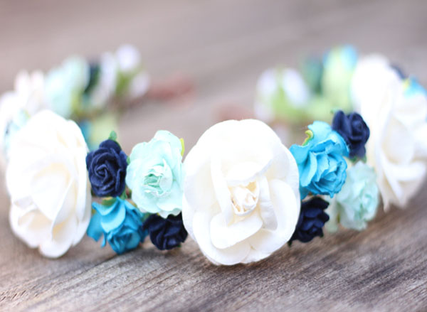 Floral Hair Wreath Mint Flower Crown Navy and Blue Head Wreath Ivory